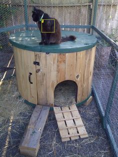 DIY Idea; Wooden Reel/ Cable Spool Duck House. I think a Bunnies, Cats, Chickens would like it too!