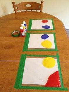 Finger paint in a bag! [No Link] Big ziplock bags with paint and paper inside. Tape it down and let them go nuts. :)