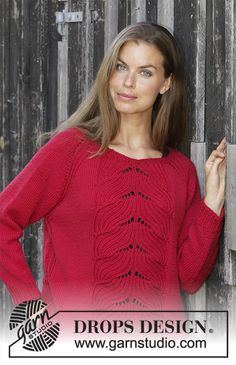 Women - Free knitting patterns and crochet patterns by DROPS Design Free Knitting Patterns For Women, Lace Knitting Patterns, Knitting Designs, Drops Design, Crochet Coat, Red Tulips, Jumpers For Women, Pulls, Couture