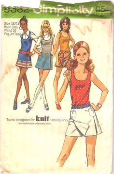 Simplicity 9332 1970s Junior Misses Teen Mod Scooter by mbchills