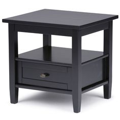 Black End Tables, Rustic End Tables, Black Side Table, Side Tables, Winsome Wood, Thing 1, End Tables With Storage, Metal Drawers, Rustic Contemporary