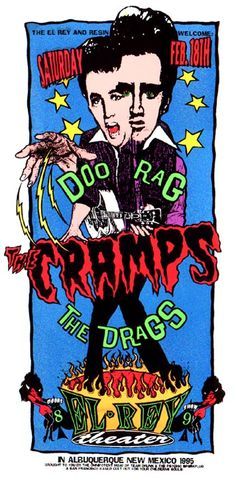 Elrey Theatre, Albuquerque, NM US +Doo Rag +The Drags - artwork by Psychic Sparkplug — with Bob Log III and Doo Rag. Pop Posters, Band Posters, Concert Posters, Music Posters, Art Music, Music Artists, Screen Print Poster, Poster Prints, Punk Poster