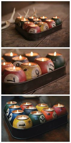 Create some tasteful and romantic lighting inside your house or apartment with this set of pool ball candles. Styled after the classic billiard triangle, the triangular holder groups your entire set of pool ball candles and keeps them from rolling around when lit :) Of course, these are not real pool balls as it would be too difficult to cut them into mini candle holders. But you can try to make your own from some old pool balls if you have the right tools!