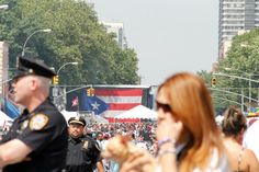 Celebration of PR heritage in NYC in June, love how there's a giant flag displayed