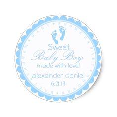 Blue Footprints-Baby Shower Classic Round Sticker