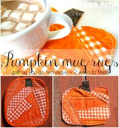 Sew up a pumpkin mug rug. It's sewn with the quilt as you go technique and is quick to sew and show off! Great for fall or Halloween time.
