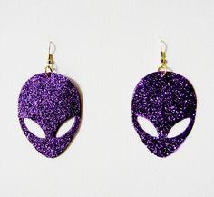 Alien UFO pastel goth Soft Large Purple Glitter Earrings