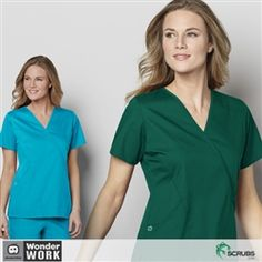 26fcbb22c0d WonderWORK 102 - Women's Mock Wrap Scrub Top at Scrubs.com Wrap Tops, Top