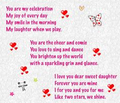 Need Happy Birthday Poems for your husband, wife, brother or sister? Find funny, short happy birthday poems for your friend, mom or daughter right here. Romantic Birthday Poems, Birthday Poems For Daughter, Happy Birthday Quotes For Daughter, Daughter Poems, Birthday Wishes For Friend, Birthday Quotes For Him, Happy Birthday Mom, Happy Birthday Messages, Poems For Daughters