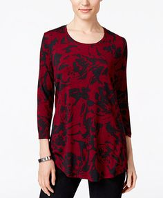 JM Collection Printed Scoop-Neck Top, Only at Macy's Details Qty: 1 Color: Merlot Bloom Size: L