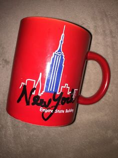 Mary Ellis New York Coffee Cup Mug Red Empire State Building Souvenir
