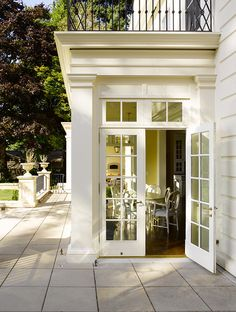 Traditional Home with Yellow Kitchen - french doors French Doors Patio, Patio Doors, Entry Doors, European House, Luxury Interior Design, Maine House, Architecture Details, House Architecture, Classical Architecture
