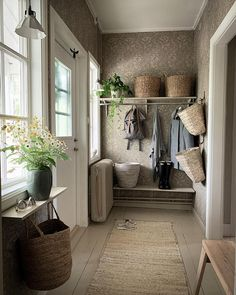 Small Hallway Decorating, Small Hallways, Clawfoot Bathtub, Entryway Bench, Farmhouse Style, Tiny House, Sweet Home, Cottage, Interior Design