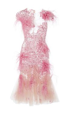 Floral Feather Applique Cocktail Dress by MARCHESA for Preorder on Moda Operandi