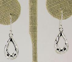Sterling Silver Open Teardrop Filigree Drop Dangle Earrings #Unbranded #DropDangle