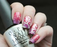 Pink ombré swirls and sparkles