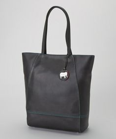Take a look at this Top Zip Black & Cyan Square Tote by Mywalit on #zulily today!