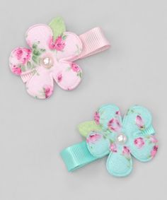 Take a look at this Shabby Chic Flower Clip Set by Pink Poseys Bowtique on #zulily today!