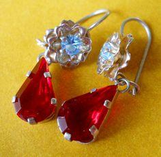 Vintage Earrings Rhinestone Cherry Red & Baby Blue by LakeBreezes,  8.00