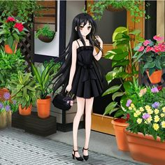 Anime picture with accel world sunrise (studio) kuroyukihime nihility (artist) long hair single blush black hair brown eyes girl flower (flowers) plant (plants) sundress bag Black Hair Brown Eyes Girl, Girls With Black Hair, Brown Eyed Girls, Accel World, World Images, Anime Films, Black Image, Female Anime, Anime Chibi