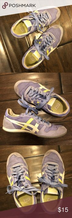Onitsuka Tiger ASICS Lavender Lime White Sneaker Onitsuka Tiger ASICS Lavender Lime White Sneaker Nylon Upper *Well-loved and well-worn *Some arch support Sad to give these up! 😢 Onitsuka Tiger by Asics Shoes Sneakers