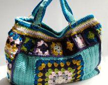 Hæklet pung bedstemor firkantet weekendtaske