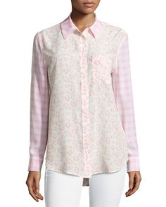 Equipment Reese Printed Long-Sleeve Blouse, Blossom New offer @@@ Price :$268 Price Sale $149