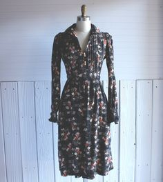 vintage 1970s dress / bird floral boho dress / m l by GazeboTree, $42.00