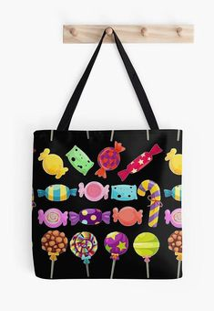 black Tote bag / candy print / yoga bag Tattoo wolf beach Tattoo Wolf, Yoga Bag, Black Tote Bag, Reusable Tote Bags, Shoulder Bag, Candy, Bag, Sweet, Toffee