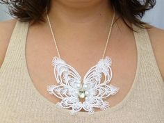 Tatted Lace Wings Statement Bib Necklace Angel J di SnappyTatter, $115.00