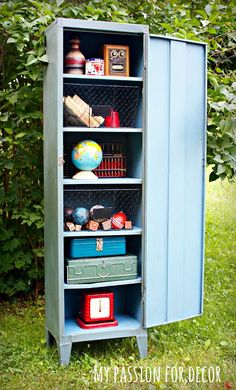 My Passion For Decor: Old, Rusty, Smelly Metal Cabinet Turned Industrial Locker