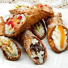 Sicilian cannoli - Sicilian cornets filled with ricotta cheese and candied fruit