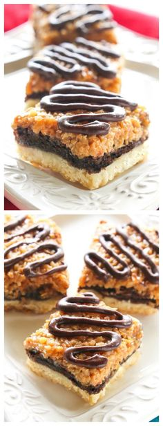 These Samoa Brownie Bars have a shortbread crust topped with a brownie layer and caramel coconut inspired by the Girl Scout cookie. the-girl-who-ate-everything.com