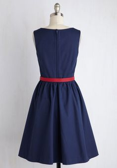Biking through Brussels Dress in Navy. Keeping a casual pace, you breeze through the city center atop your bike in this adorable A-line. #blue #modcloth