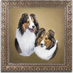 Trademark Fine Art 'Collies 2' Canvas Art by Jenny Newland, Gold Ornate Frame, Size: 11 x 11, Assorted