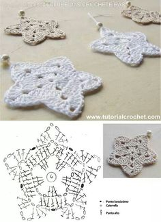Christmans na Stylowi.pl These look pretty and easy to crochet. Christmans na Stylowi.pl These look pretty and easy to Crochet Snowflake Pattern, Crochet Stars, Crochet Motifs, Crochet Snowflakes, Crochet Diagram, Crochet Doilies, Crochet Flowers, Crochet Appliques, Crochet Angels