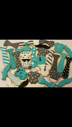 Mustache and bow tie cookies