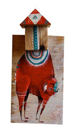 """Kher"" Acrylic paint on wood. 14 x 10 x 20 cmts."