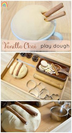 Vanilla Chai Play Dough recipe with invitation to play ideas - Wings and Roots