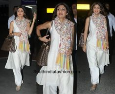 Shilpa Shetty in a salwar at the airport photo