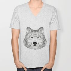wolf V-neck T-shirt by creaziz | Society6