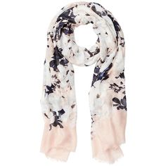 Witchery Winter Wonderland Scarf ($38) ❤ liked on Polyvore featuring accessories, scarves, short scarves, fringe shawl, floral scarves, floral shawl and fringe scarves