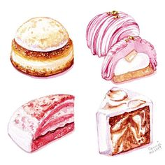 Sweet Recipes, Real Food Recipes, Cake Recipes, Mini Desserts, Watercolor Food, Watercolor Ideas, Watercolour, Food Art Painting, Sweet Cafe