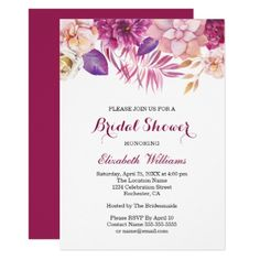 Modern Watercolor Floral Bridal Shower Invitations - invitations custom unique diy personalize occasions