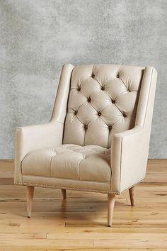 Slide View: 1: Premium Leather & Belgian Linen Booker Armchair