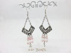 Boucles d'oreilles Cristal Rose Blanc et Etoile, boucles pendantes avec connecteur en V, crochet argent 925 : Boucles d'oreille par zenboutik