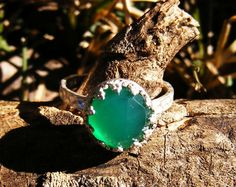 Green Chalcedony & Sterling Silver Ring by GoldiesNaturalGems, $36.00 #fashion #jewelry #teamhandmade