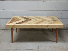 Coffee Table, Reclaimed Pallet Wood, Chevron, Herringbone Design, Handmade in Toronto, Mid-Century Modern, Modern, Flea Market, Upcycled