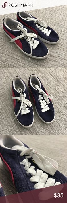 New Women's red and navy pumas New only thing is that there is a small part of the lace undone seen in picture 3. Puma Shoes Sneakers