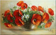 Malarstwo i Fotografia - Ewa Bartosik: Kwiaty Polne Palette Knife Painting, Impressionist Art, Watercolor And Ink, Ink Art, Flower Art, Poppies, Paintings, Artists, Beautiful Paintings